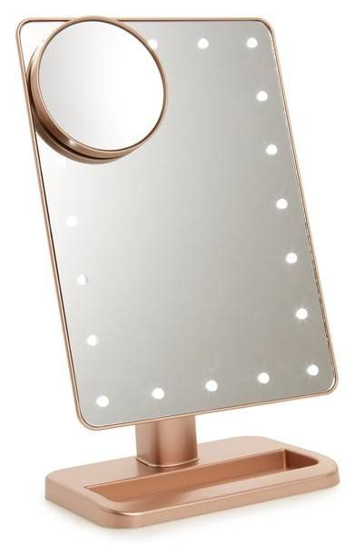 Glam up with this portable vanity mirror illuminated with dimmable LED lights controlled by a touch power sensor—just tap it to turn on, and hold down to adjust brightness.