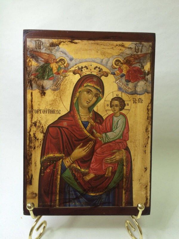 A personal favourite from my Etsy shop https://www.etsy.com/listing/491682937/our-lady-theotokos-byzantine-icon