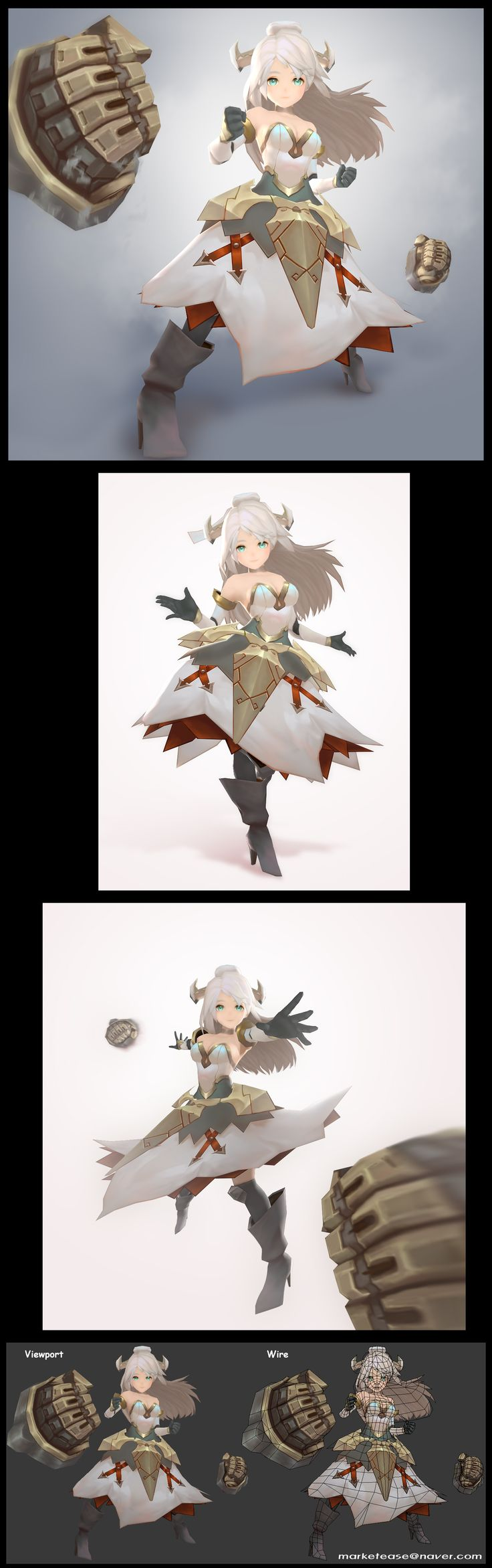 3d low poly character, anime style, Korean 3d character design, hand painted texture