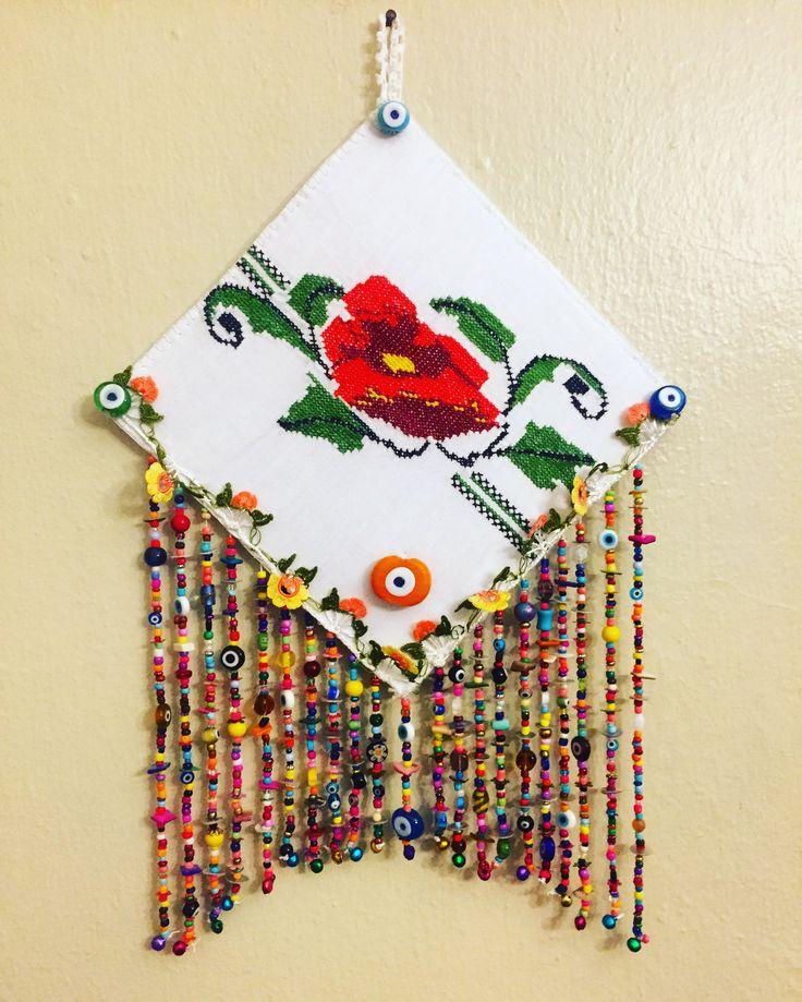Nazarlık, nazar, kanaviçe, tasarım, kanaviçeli nazarlık, amulet, turkish eye, design, hand made