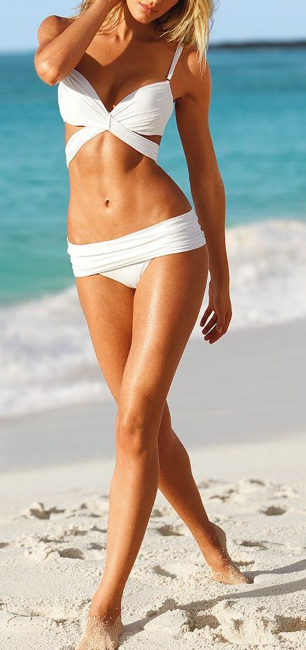 If you can pull it off, go ahead... Bare your tan in a sultry white bikini.