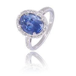 Bague saphir ovale et diamants-Bague saphir bleu et diamants,Bague or blanc - Nava création