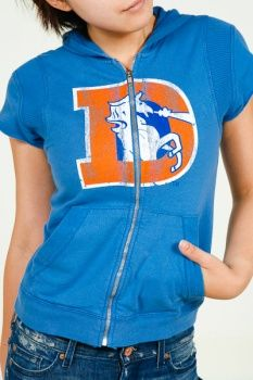 Retro Sport Denver Broncos Women's Sleeveless Hoodie $34.99 (Small only). Put toned arms on display in this supercute, unique, 100% pure cotton, Denver Broncos Hoodie from Retro Sport.  This playful Broncos hoodie gets even more sporty with a front zipper and perfectly placed pockets.  At 44% off its original price, these are the last Retro Sport Denver Broncos sleeveless hoodies in stock at Red Bins.  When they're gone they're gone!