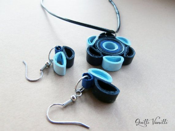 Paper Quilled Necklace, Paper Quilled Earrings, Paper Quilling Jewelry, Quilled…