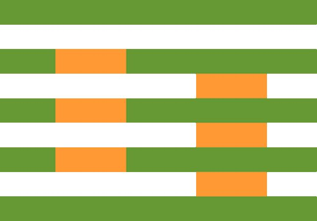 Same colour, orange? / The same idea can be done with real colour paper cuts. Josef Albers did a lot of tests of colours affecting on each others.