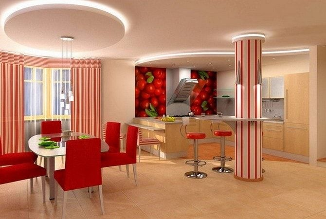 The red accent in the interior of the kitchen and dining room.
