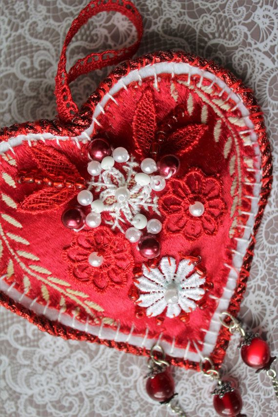Red embroidered heart ornament with a secret by MyFairyHearts