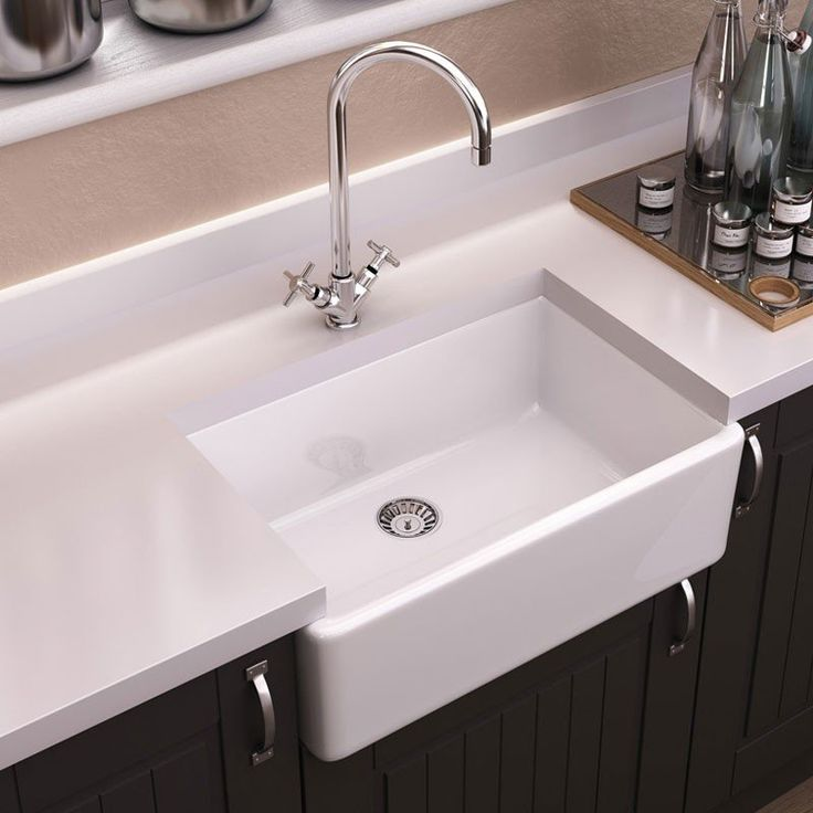 Randolph Morris 24 X 18 Fireclay Apron Farmhouse Sink Due To Sink Thickness A Disposal With Extended Flange Is Recommended