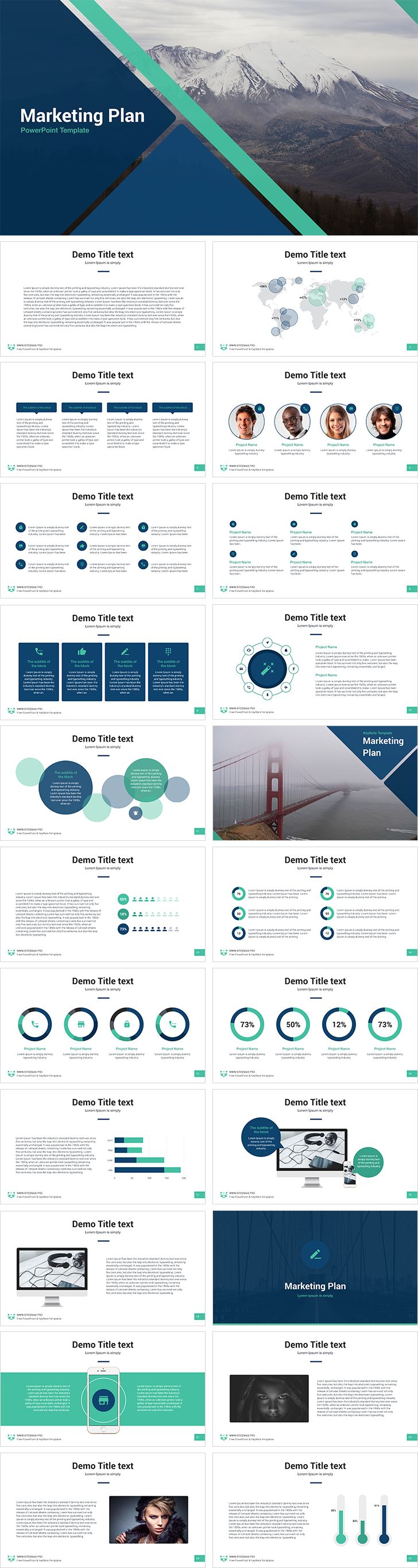 The Marketing Plan free PowerPoint template is 26 unique slides in two formats. Built-in tools allow you to change the presentations to your taste.