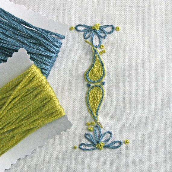 DIY pdf Crewel Embroidery Pattern Monogram I is by PrairieGarden, $5.00