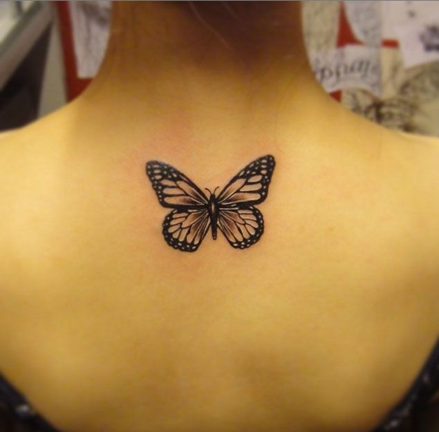 Blackwork Butterfly Tattoo Design by Black Fish Tattoo