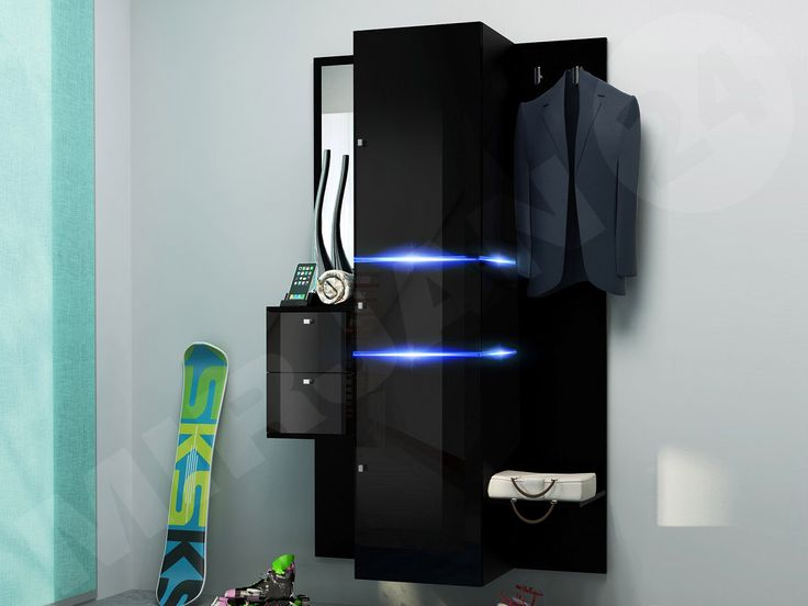 Black wardrobe. With the mirror. Ideal for hall.