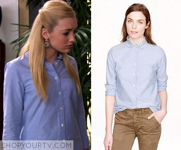 JESSIE: SEASON 3 EPISODE 22 EMMA'S EMBELLISHED COLLAR BUTTON UP BLUE SHIRT Posted on October 18, 2014 by Kirsty Emma Ross (Peyton List) wears this embellished collared blue button down shirt in this episode of Jessie.  It is the J Crew Jeweled Peter Pan Oxford Boy Shirt Top.