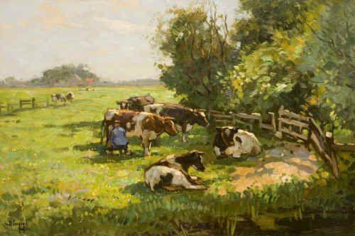 Fraai schilderij van een polderlandschap met koeien.