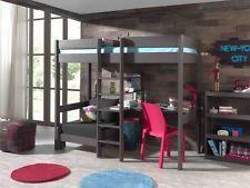 Hochbett Pino. Etagenbett 90x200cm mit Schreibtisch und Sesselbett. Farbe: Taupe