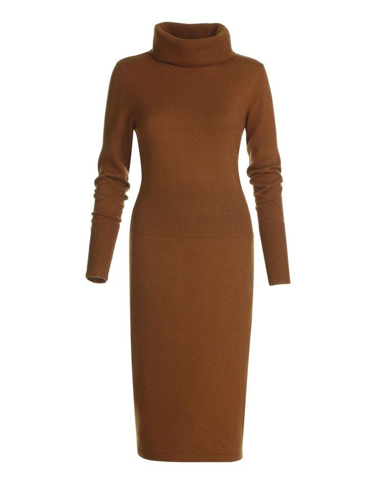 Schmales Strickkleid mit Kaschmir in den Farben schwarz, cognac - dunkelbraun - im MADELEINE Mode Onlineshop