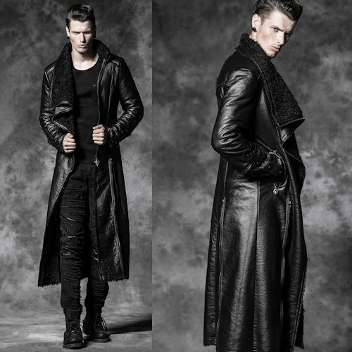 Designer Men Black Gothic Fashion Long Overcoats Trench Coats Clothes SKU-11401494