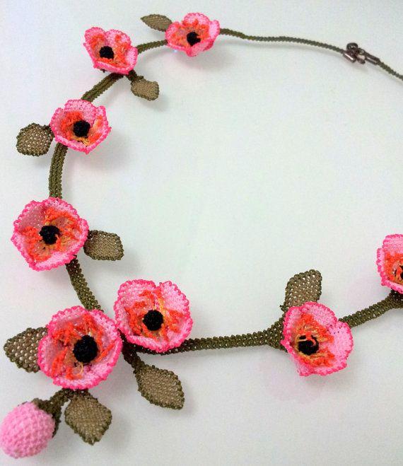 Pink Crochet NecklaceWild Pink Roses Crochet by needlecrochet