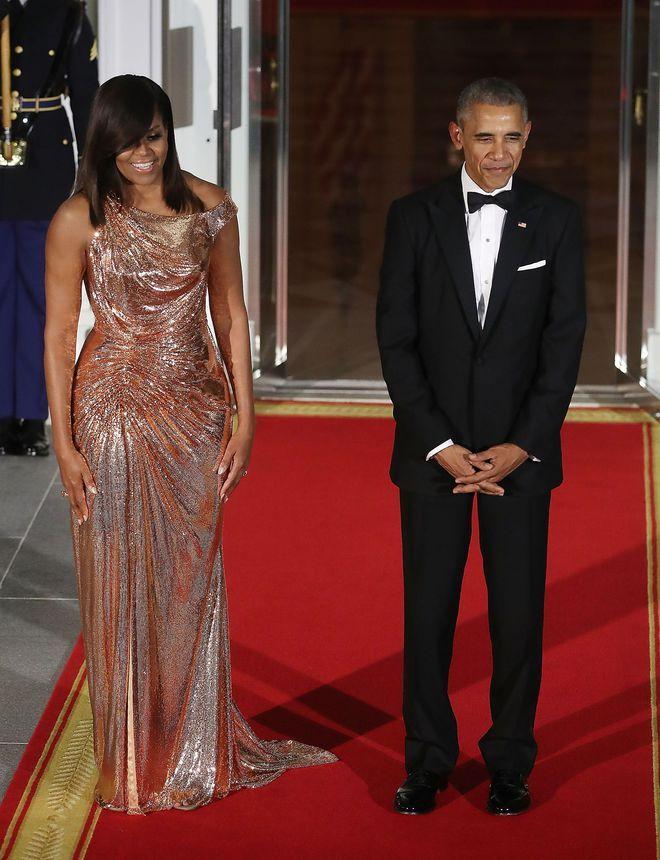 Michelle Obama look Maison Blanche robe Versace
