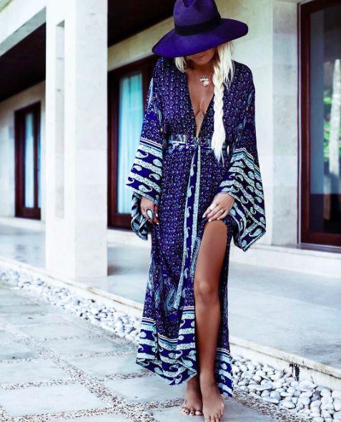 Le Salty Samsara Kimono Maxi Dress  Peacock || $119 || From Minx + Pearl || Shop the look via the link in our bio || www.minxandpearl.com