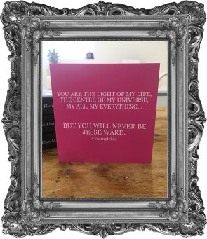 'You are the light of my life, the centre of my universe, my all, my everything... But you will never be Jesse Ward.' Valentine's Greeting Card. Limited Edition.  (scheduled via http://www.tailwindapp.com?utm_source=pinterest&utm_medium=twpin&utm_content=post138139181&utm_campaign=scheduler_attribution)