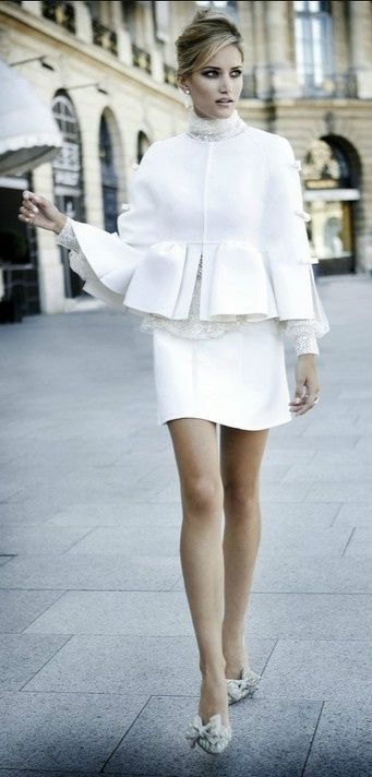 White skirt suit with lace blouse