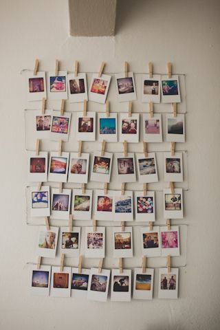 Decoración con fotos en pinzas de tender.