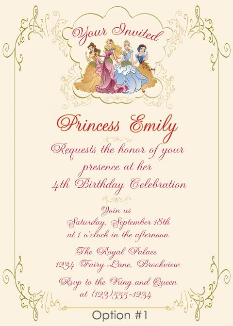 Best 25 Princess birthday invitations ideas – Personalized Disney Birthday Invitations