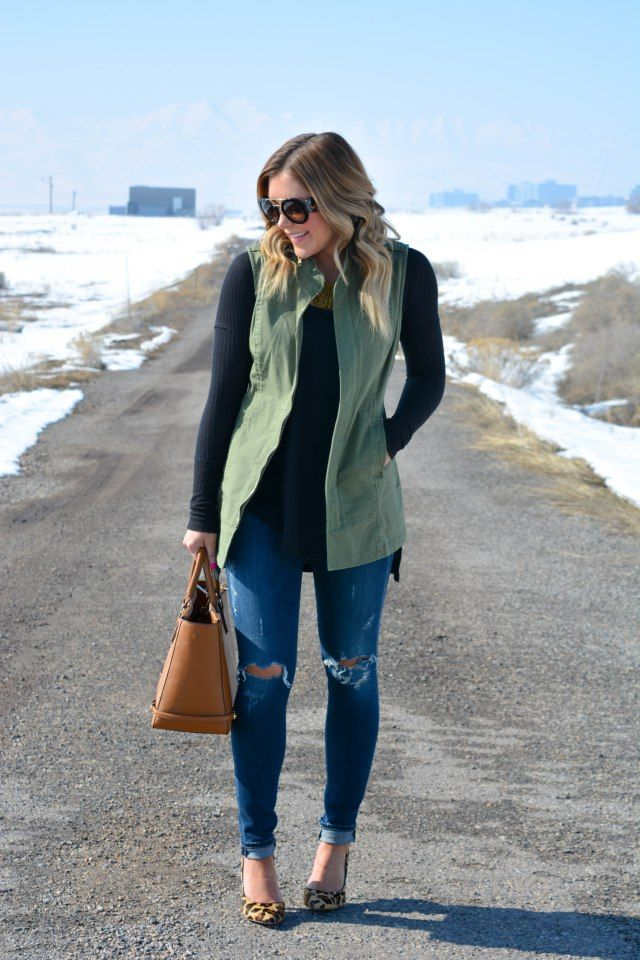Army Green Utility Vest, Black Top, Distressed Jeans, Cognac Purse and Leopard Print Heels