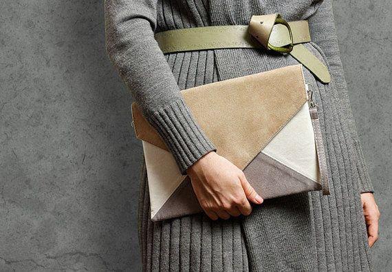 Clutch bag Letter Medium beige ivory grey - clutch purse / handbag - vegan / eco / faux / suede - with strap / pocket - bridesmaid