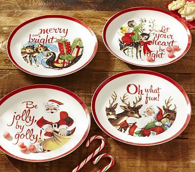 Ceramic Christmas Plate Set // Loved when we got out the family Christmas dishes the day after Thanksgiving growing up. & 217 best Christmas plates and cups images on Pinterest | Christmas ...