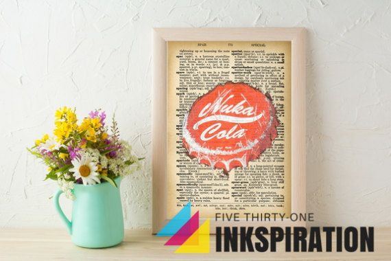 Dictionary Page Art INSTANT DOWNLOAD | Art Print | Fallout Art | Nuka Cola Bottle Cap | Wall Decor | Digital Download | Printable Art