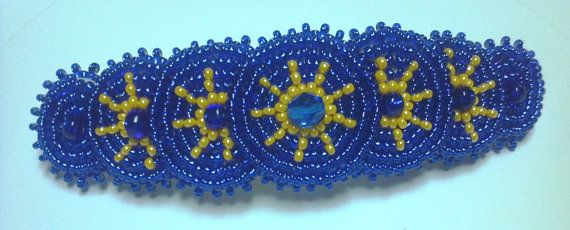 Sports Team hair barrette clip https://www.etsy.com/listing/48354674/handmade-beaded-barrette-college-nfl