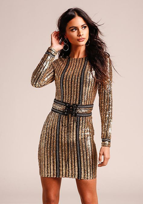 8301e82fcfc21 Gold Sequin & Chain Bodycon Dress with Corset Belt - New | A ...