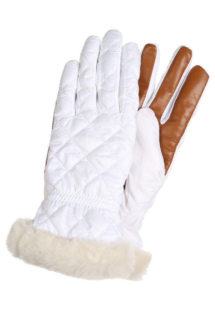 UGG Rękawiczki pięciopalcowe pikowane białe white