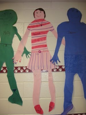 Students make life-size models of themselves to practice their measurement skills.