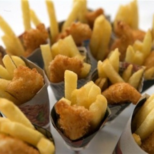 SEAFOOD Fish and chips³ - sweet potato, pumpkin, and eggplant fries with fried seasonal fish served in paper cone or potato cup . peach mango salsa or tartar sauce condiment