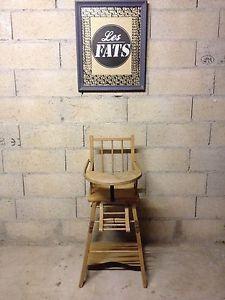 Chaise-Haute-Bebe-Bois-Vintage-Retro-Loft