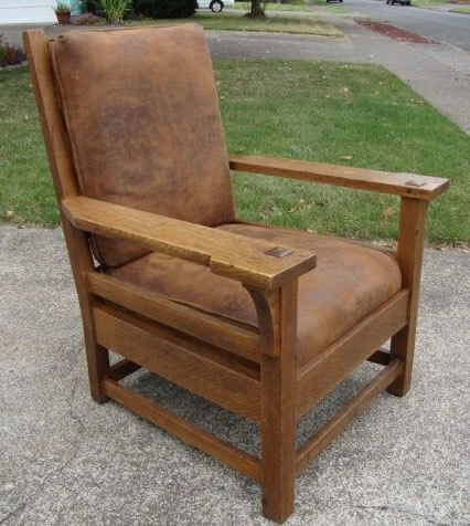 gustav stickley early furniture | Early Gustav Stickley Oak Arm Chair