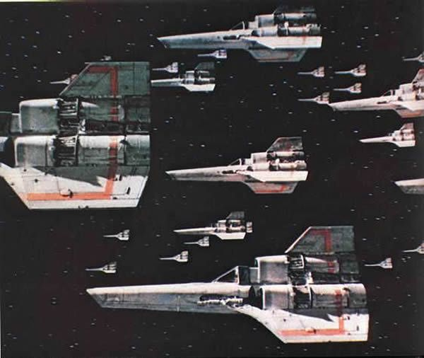 Colonial Vipers from TV's Battlestar Galactica, 1978-1979.