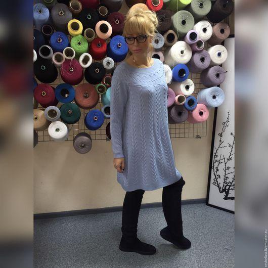 Платья ручной работы. Ярмарка Мастеров - ручная работа. Купить Платье вязаное из 30% итальянской шерсти №102. Handmade. Голубой