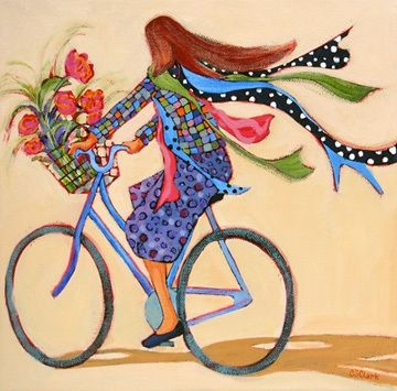 Ride for Fun, contemporary figure painting of a woman on a bicycle -- Carolee Clark