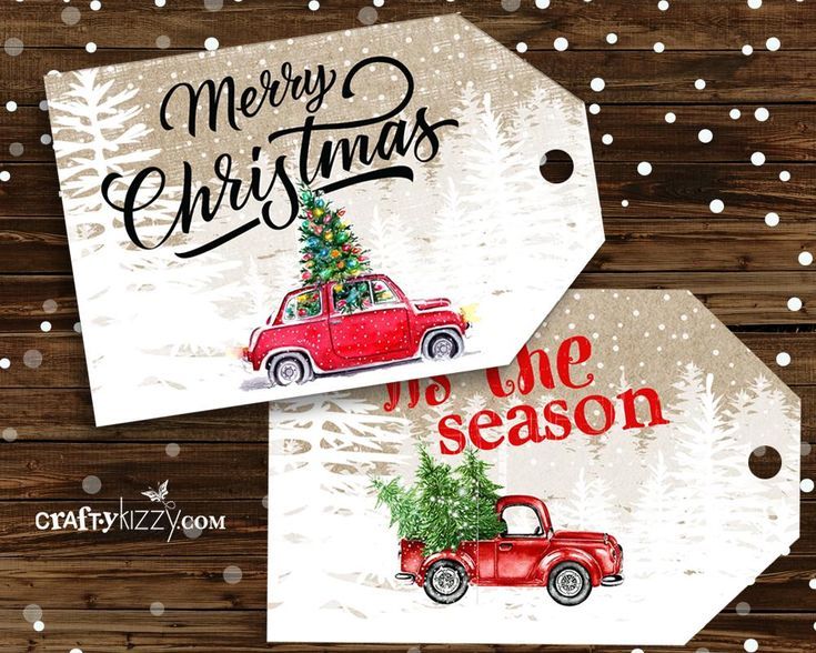 Red Truck Merry Christmas Favor Tags - Craft Tags - Vintage Red Car Tags - Holiday Tags - INSTANT DOWNLOAD
