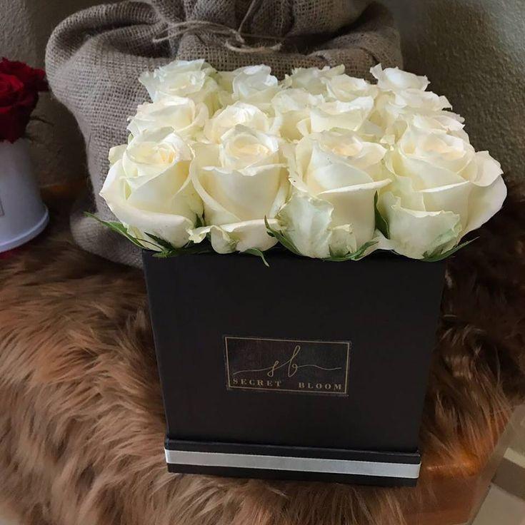 White Roses in Black Box White Roses Luxury Roses Secret Bloom Boxes  The best choice