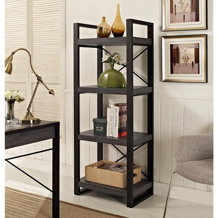 62 in. Modern Media Storage Tower - Charcoal, Gray
