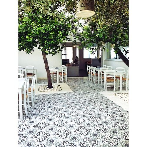 Hydraulic tiles used as outdoor paving