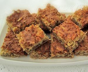 Coconut bars with nuts, especially good drizzled with chocolate. http://www.quick-german-recipes.com/coconut-bar-recipe.html
