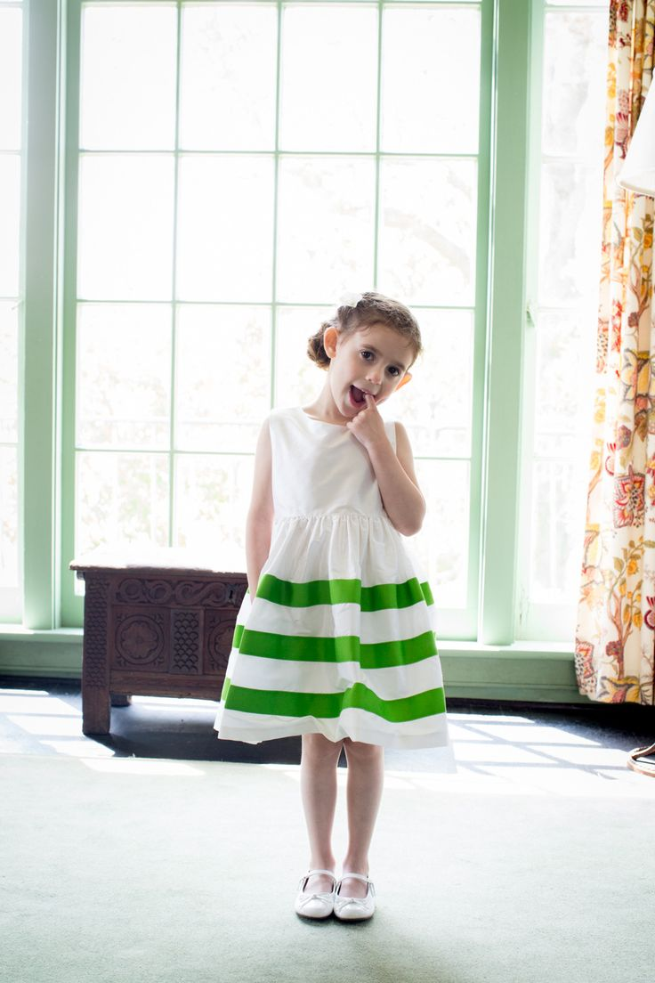 How cute is this #flowergirl in her #stripe #dress? Photography: Jason Walz - www.jasonwalz.com