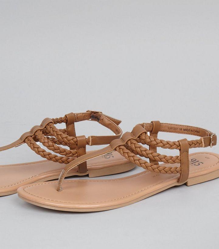 Teens Brown Triple Plait Sandals   New Look