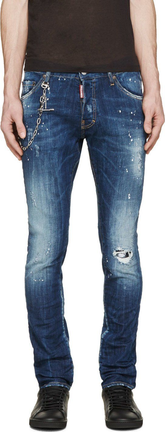 Dsquared2 Blue Painted & Distressed Cool Guy Jeans